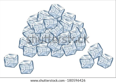 Hill ice cubes vector art image illustration eps10 isolated on white background - stock vector