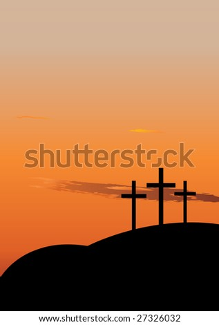 Hill with three crosees. Symbol of Golgotha, or Calvary, the hill on which Jesus was crucified - stock vector