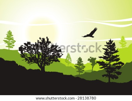 Hills and trees - stock vector