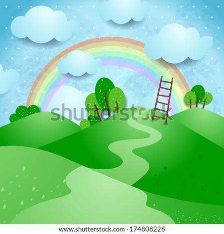 Hills, fantasy landscape. Vector  - stock vector
