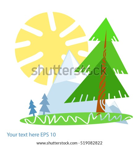 Hillside pine trees and distant mountains.Styled Sunny summer mountain landscape icon.