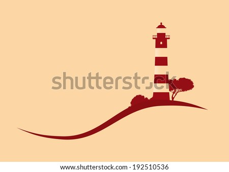 hillside red striped lighthouse vector illustration - stock vector
