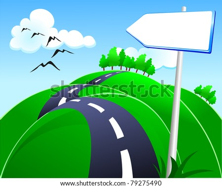 Hilly road with sign, vector