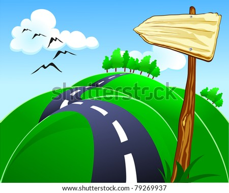 Hilly road with wooden sign, vector