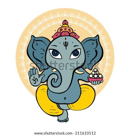 Hindu God Ganesha. Vector hand drawn illustration. - stock vector