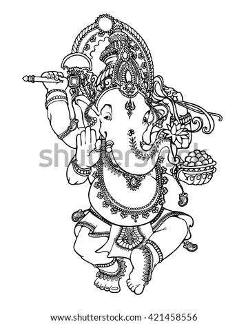 Hindu God Lord Ganesha. Indian motifs. Tattoo, spirituality, yoga - stock vector