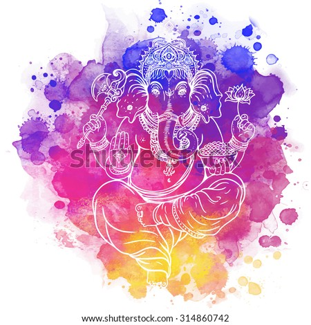 Hindu Lord Ganesha. Meditation concept. Vector illustration. Over colorful watercolor background. - stock vector