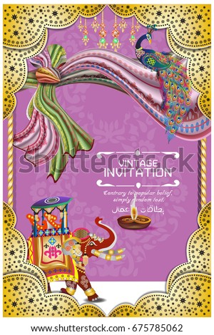 Vector illustration indian wedding invitation card stock vector hindu wedding knot tied with man and woman vector illustration of indian wedding invitation card with stopboris Gallery