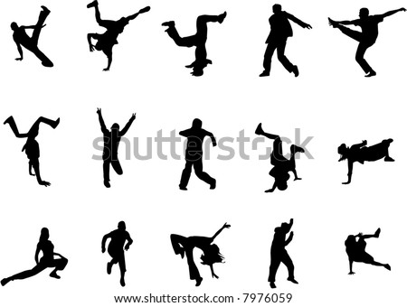 hip hop dance silhouettes - stock vector