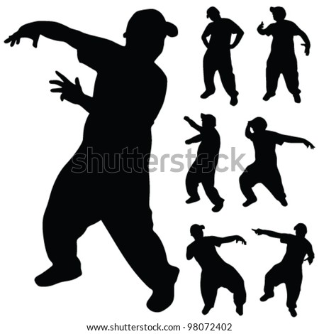 hip hop dancer silhouette on white background - stock vector