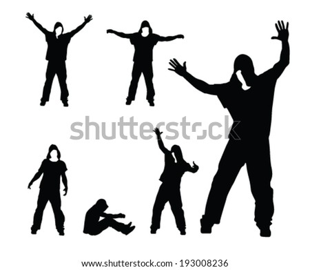 hip hop dancer vector silhouettes