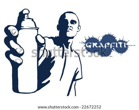 Hip hop graffiti spray can - stock vector