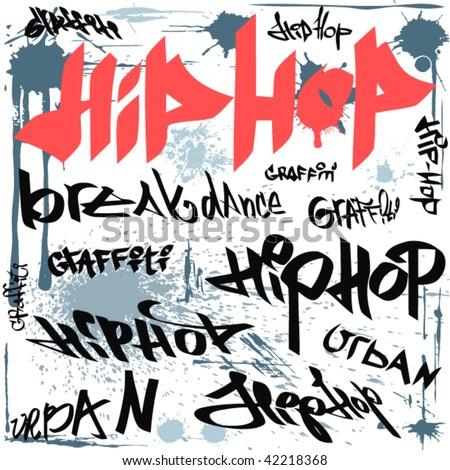 hip hop graffiti vector urban background - stock vector