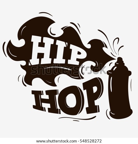 Hip Hop Label Design With A Spray Balloon Silhouette On Brown Background Vector Graphic