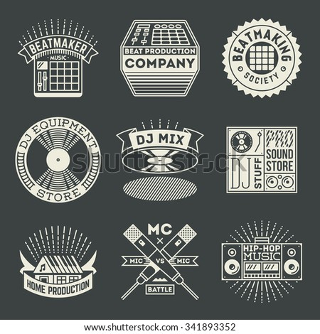 Hip-Hop Music Insignias Logotypes Template Set. Line Art Vector Elements. - stock vector
