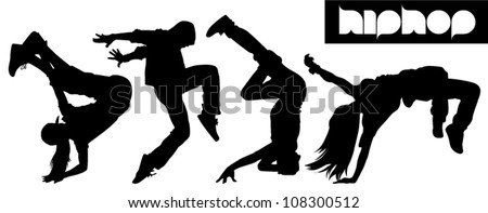 Hip Hop silhouette - stock vector