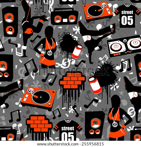 Hip Hop Street Seamless Pattern Background Is A Vector Illustration Novelty Print That