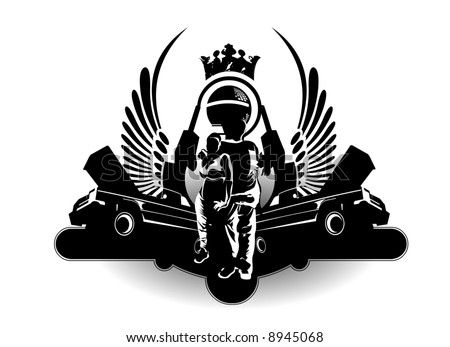 hiphop and low rider logo - stock vector