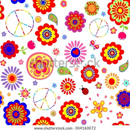 Hippie childish colorful wallpaper - stock vector