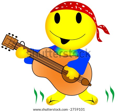 Hippie emoticon style man playing the guitar and singing a song, while the grass grows under his feet. Vector. - stock vector