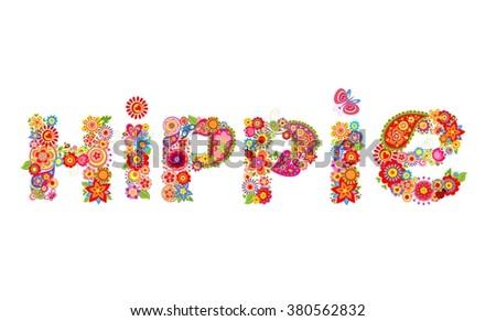 Hippie flowers letter - stock vector