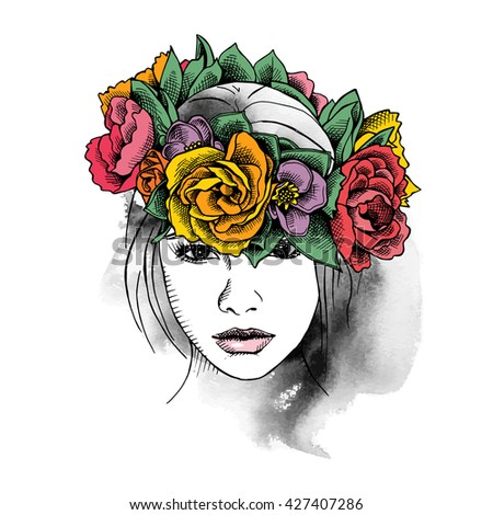 Hippie Girl portrait in a floral head wreath. Vector illustration.