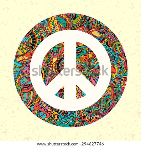 Hippie style. Ornamental watercolor background. Love and Music with hand-written fonts, hand-drawn doodle background and textures. Hippy color vector illustration. Retro 1960s, 60s, 70s  - stock vector