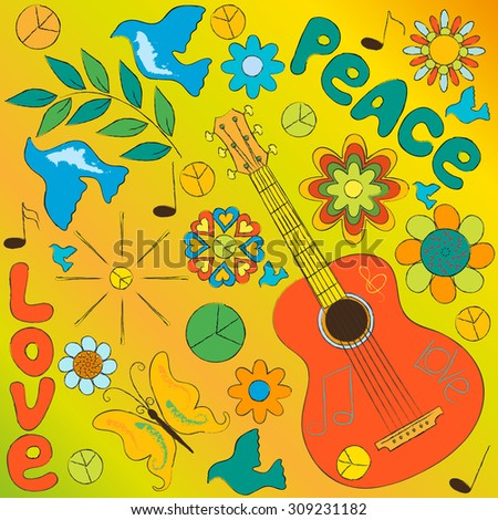 hippie symbols on a yellow background - stock vector