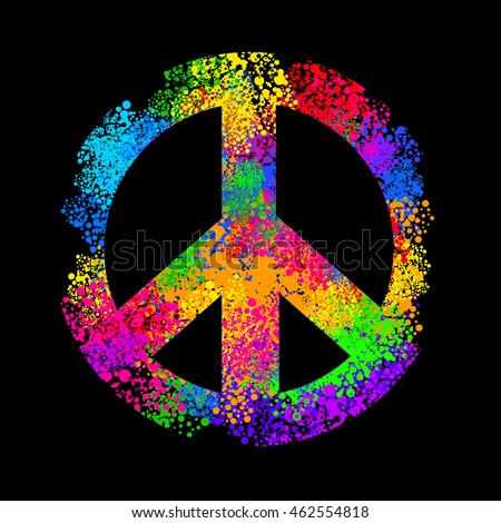 Hippie Symbols Two Fingers Sign Victory Stock Photo Photo Vector