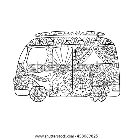 Hippie Vintage Car Mini Van Zentangle Vector de stock458089825 ...