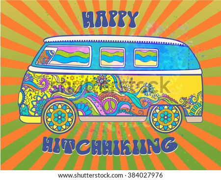 Hippie vintage car a mini van. Love and Music with hand-written fonts, hand-drawn doodle background and textures. Hippy color vector illustration. Retro 1960s, 60s, 70s, Woodstock Music and Art Fair.  - stock vector