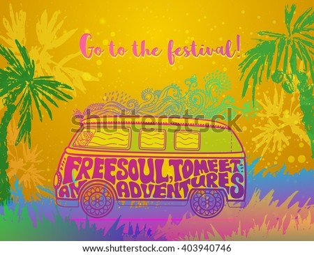 Hippie vintage car a mini van Ornate background Love and Music with hand-written fonts hand-drawn doodle background and textures Hippy color vector illustration Retro 1960s 60s, 70s Woodstock festival - stock vector