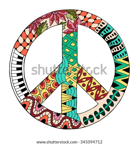 Hippie vintage peace symbol in zentangle style for adult anti stress. Coloring page with high details. Made by trace from sketch. Hippy colorful vector illustration. Retro 1960s, 60s, 70s - stock vector