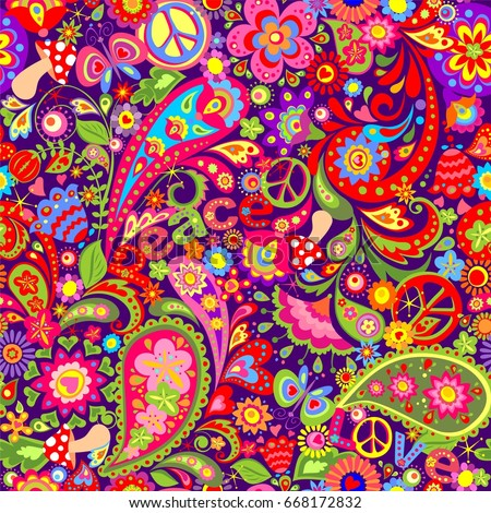 Hippie Vivid Wallpaper With Abstract Colorful Flowers Peace Symbol Mushrooms And Paisley