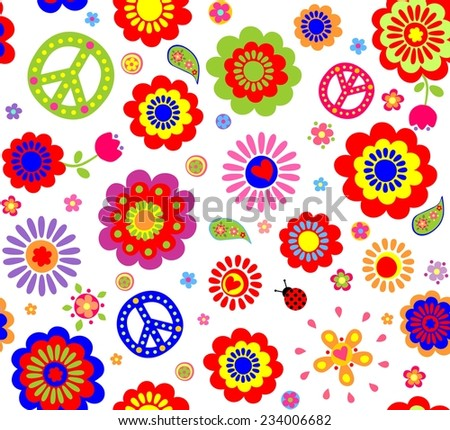 Hippie wallpaper with abstract flowers - stock vector