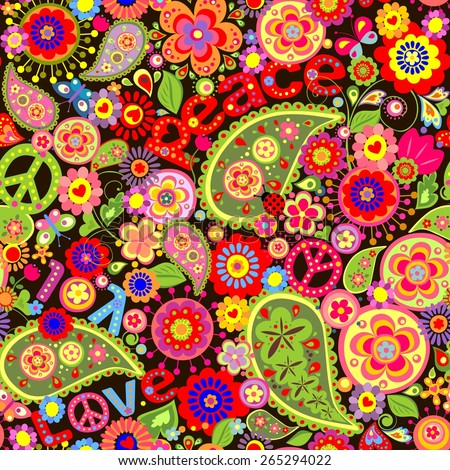Hippie wallpaper with colorful spring flowers and paisley - stock vector