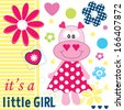 hippo baby girl shower card vector illustration - stock vector