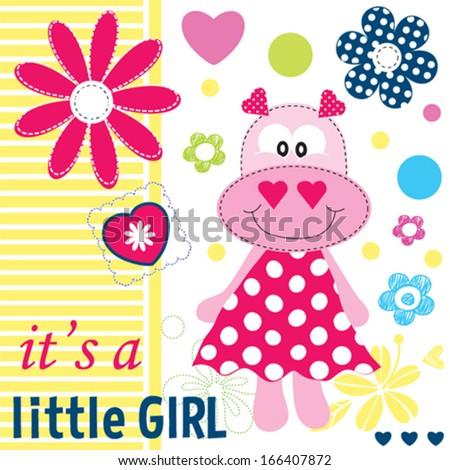 hippo baby girl shower card vector illustration - stock vector