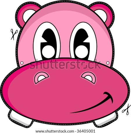 Hippo Face Mask Stock Vector 36405001 - Shutterstock