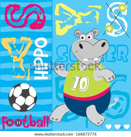 hippo football player vector illustration - stock vector