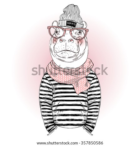 hippo hipster dressed up in frock and knitted scarf, furry art fashion illustration - stock vector