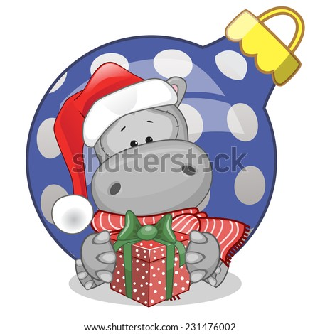 Hippo in a Santa hat with gift  - stock vector