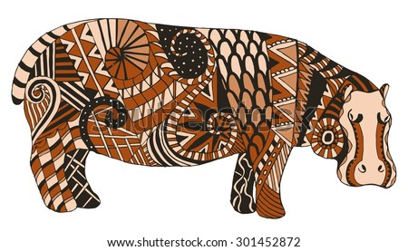 Hippo zentangle stylized, vector, illustration, freehand pencil - stock vector