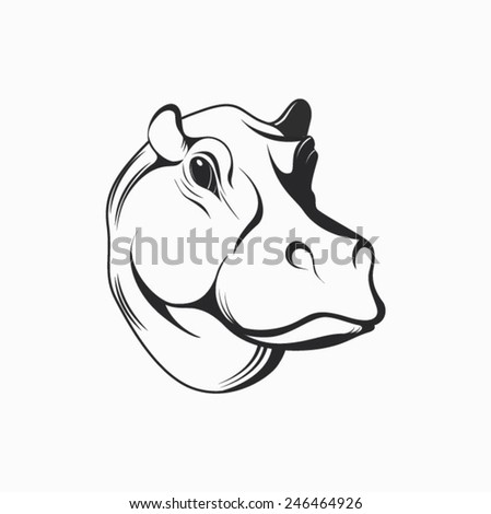 Hippopotamus label - vector illustration. The head of a hippopotamus isolated on a white background.