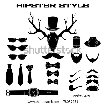 Hipster accessory pictograms collection of hat glasses mustache beard bow and tie vector illustration - stock vector