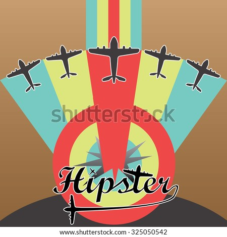 Hipster ,airplane and success concept on brown background. flat design. - stock vector