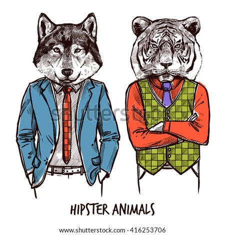 Hipster Animals Sketch Set with Wolf and Tiger in pants an jackets Isolated Vector Illustration - stock vector