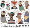 Hipster Animals Vector Set - stock vector