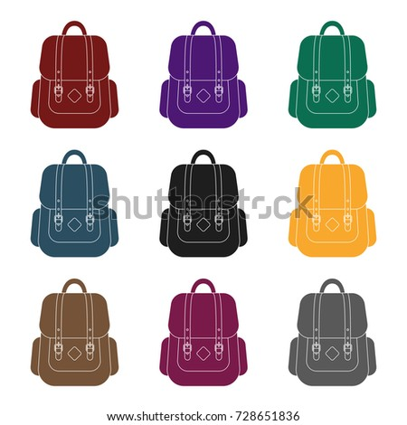 Hipster backpack icon in black style isolated on white background. Hipster style symbol stock vector illustration.