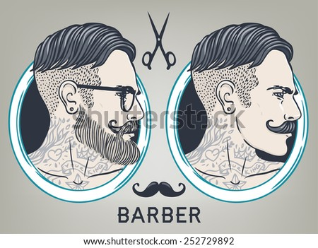 Hipster Barber Shop Business Card design template. Vector illustration. - stock vector